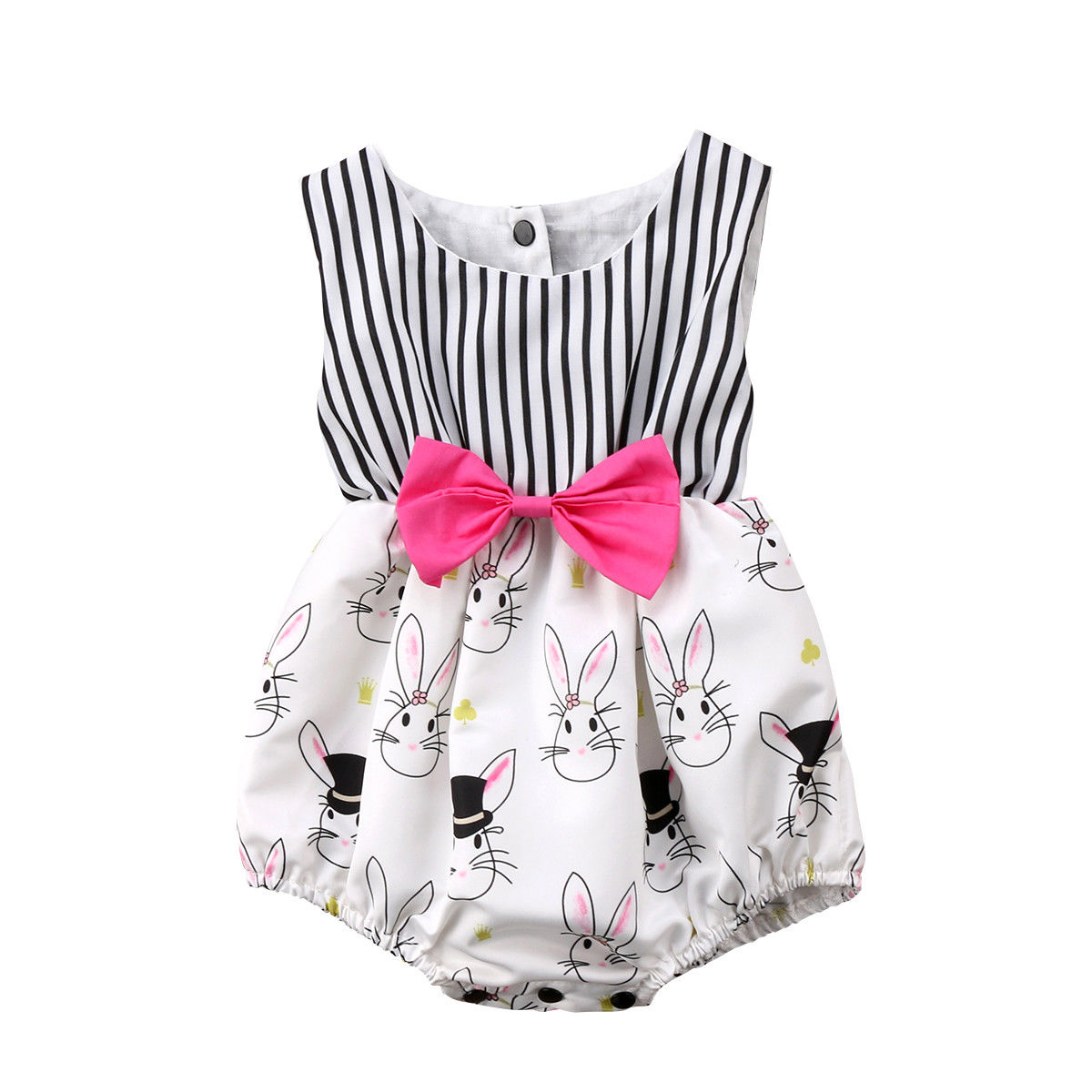 Cute Newborn Baby Girl Infant One Piece Bunny Rabbit   Romper   Striped Sleeveless Bow Tie Jumpsuit Outfits Clothes