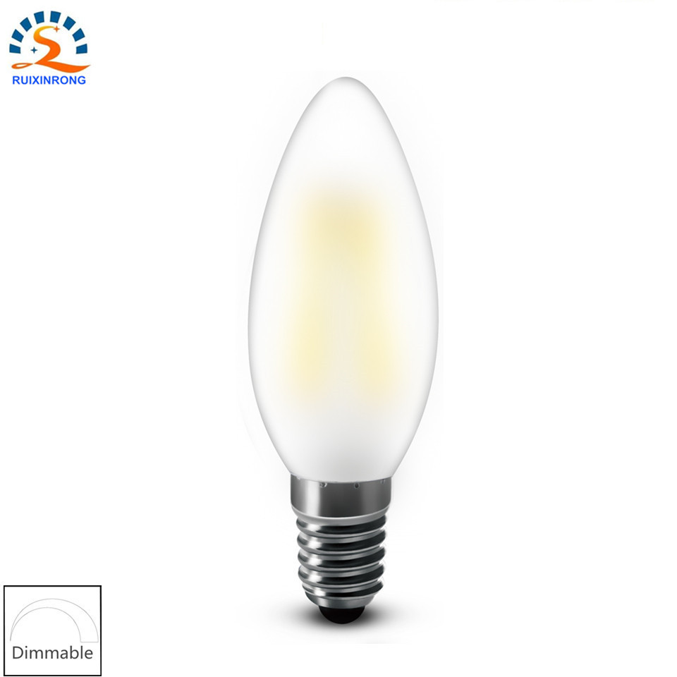 RXR frosted candle bulb E14 E12 2w 4w 6w C35 B10 220/110v Bent Tip Vintage Chandelier Candle LED Filament Bulb Lamp Light