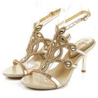 2016 Bohemian National Gold Casual Rhinestone Wedding Sandals Size 11 Elegant High Heels Women Shoes For