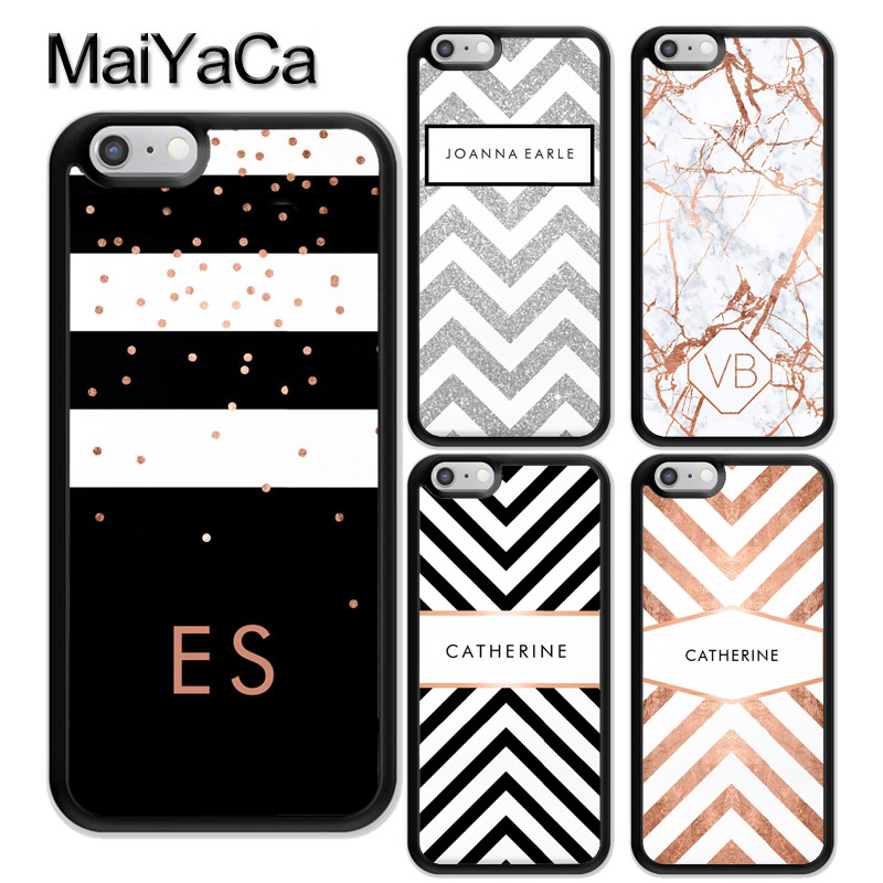factory authentic fc609 f9096 MaiYaCa PERSONALISED CUSTOM NAME MONOGRAM LETTER INITIALS Soft TPU Case For  iPhone 6 6S 7 8 Plus X XR XS MAX 5S Back Shell Cover