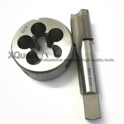 XQuest rosca de tubo Grifo y Die Set G1/8 G1/4 G3/8 G1/2 de tubería recta grifos rosca tornillo redondo muere G 1/8-28-1/4-19 3/8-19 1/2-14
