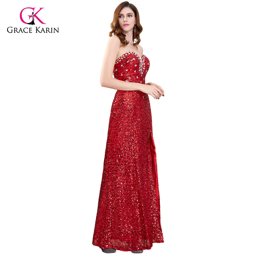 4a9dd4d14ee62 Grace Karin Red Prom Dresses Long Sparkle Evening Party Dress Shiny Sequin  Strapless Side Slit Formal Wedding Party Prom Gowns