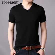 COODRONY Brand Cotton T Shirt Men V-Neck Short Sleeve T-Shirt Summer Streetwear Casual Mens T-Shirts Tee Homme S95011