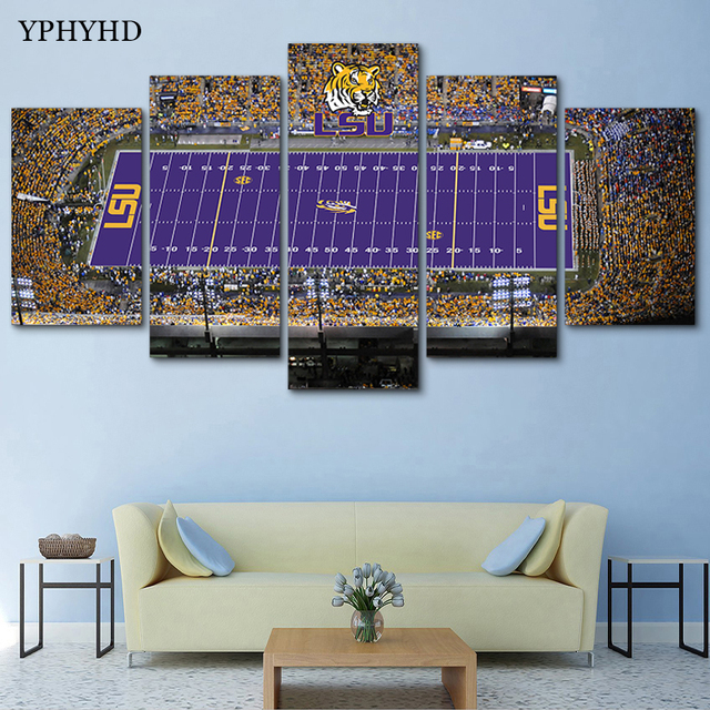 YPHYHD Canvas Painting 5 Piece LSU Tigers Stadium Canvas Painting Print  Poster Frame Wall Art Modern