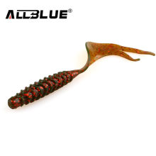 ALLBLUE Creek Single Tail Soft Bait 3.2g/82mm 8pcs/lot Screw Grubs Silicone Fishing Lures Peche isca artificial(China)