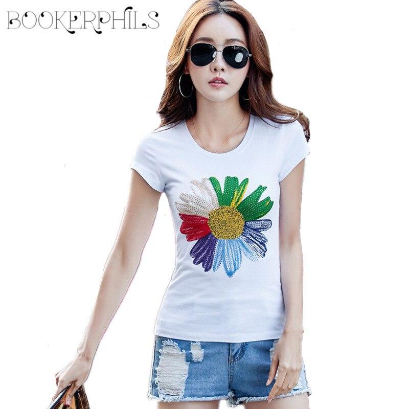 T-shirts verë të markës 2019 Gratë më të mira O-Qafa T-shirt me Femra me lule Plus Madhësi Mastet e shkurtra Rastesha të Pambukta T-shirt të Bardhë S-4XL
