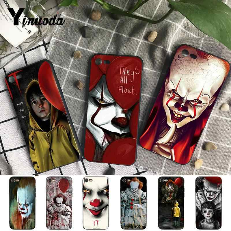 Yinuoda HET Pennywise Clown Horror Soft Rubber zwart Telefoon Case voor iPhone 5 5Sx 6 7 7plus 8 8 plus X XS MAX XR 10 Case