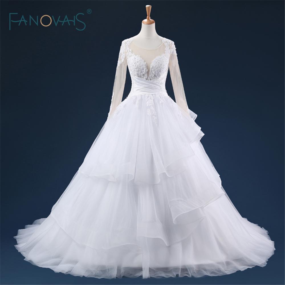 Longue nude manches étage longueur cour train robes de mariée doux tulle réel puffy dubaï sexy