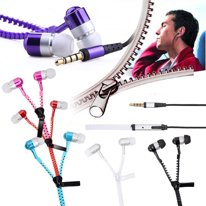 Newest Zipper Earphone in-Ear Metal Bass MP3 Music 3.5mm with Microphone Stereo Cellphone Earpieces for Smart Phone
