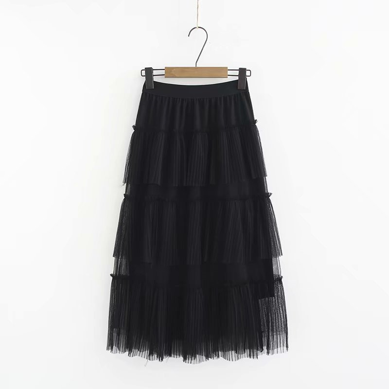 Chiffon Skirt Ruffles Pleated Black White Crepe Mid-Calf Sweet Summer Solid Spring Cakee
