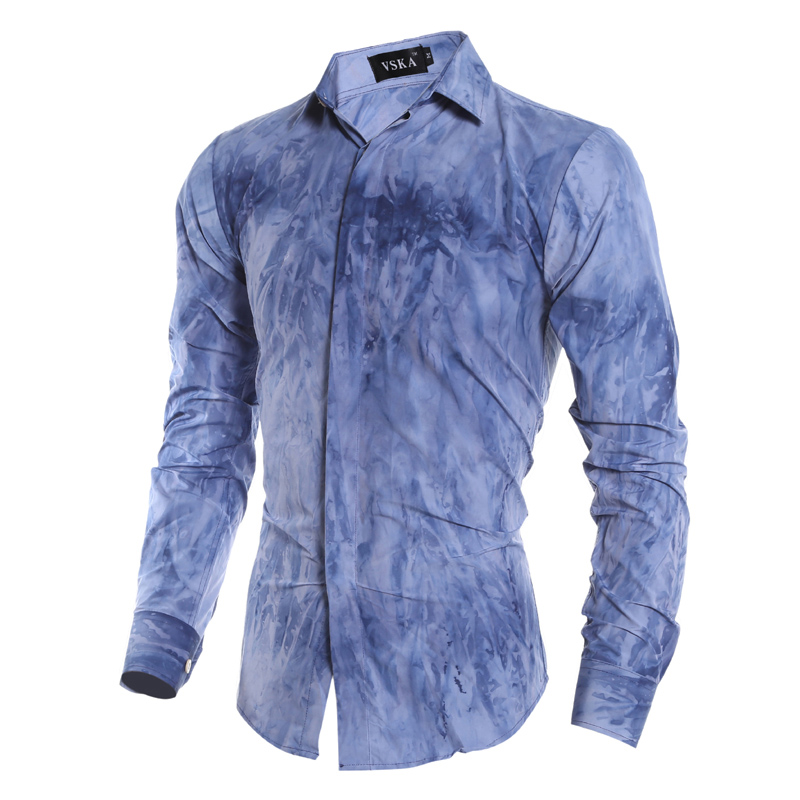2016 Novelty Tie dye printing men casual shirts Western