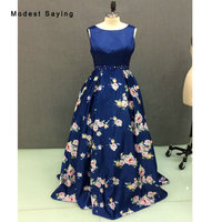 Real Photo Royal Blue A Line Beaded Floral Print Evening Dress 2017 Formal Backless Engagement Prom