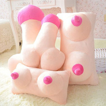 Creative Tricky Plush Pillow Cushion Practical Jokes Gag Toy Big Boobs Breast Toy Penis Dick Sleeping