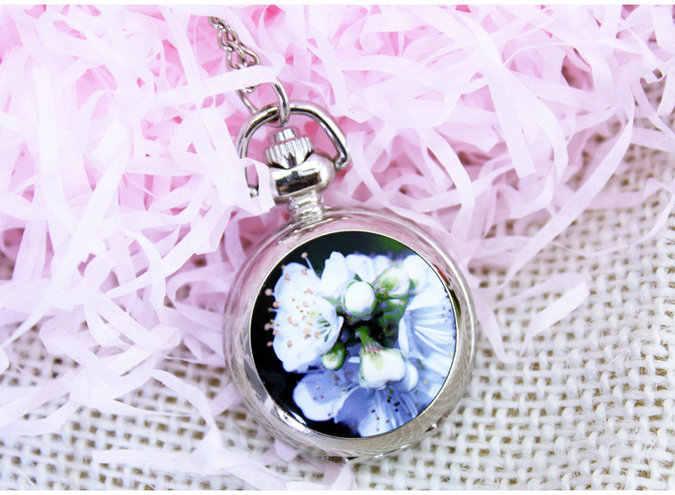 Srebrny Elegent piękny wieża eiffla piwonia kot motyl paw lily z lustrem Case wisiorek w kształcie zegarka kieszonkowego naszyjnik mężczyzna kobiet