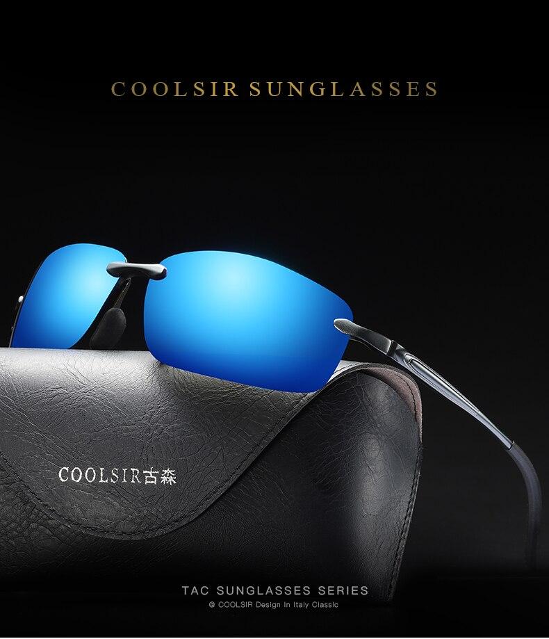 5449a3e8e94 Rimless Square Sunglasses Men Polarized Aluminium Magnesium ...