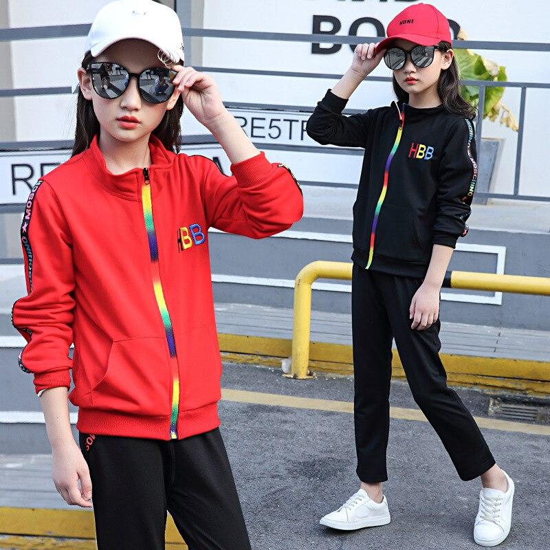 Kids girls spring / fall 2 pcs sets 2017 new baby girls clothing fashion letter HBB zipper set 3/4/5/6/7/8/9/10/11/12/13/14