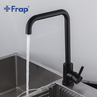 Frap 1 Set New 304 Stainless Steel Black Spray Paint Kitchen Sink Faucet Cold And Hot