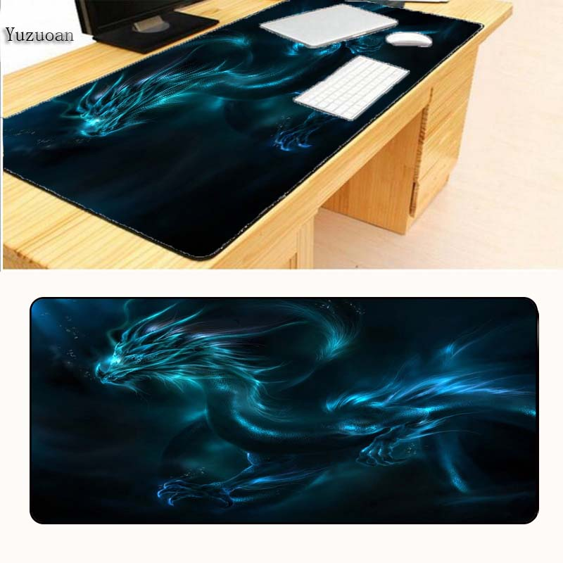 Yuzuoan Free Shipping Blue Chinese Dragon Customization Keyboard Desk Gaming Mouse pad Large Black Lock Edge For CSGO DOTA2 ...