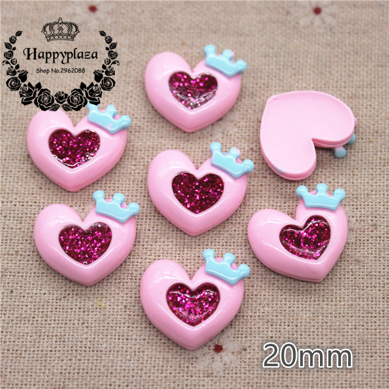 20pcs 20mm Kawaii Resin Glitter Filled Pink Heart With Crown Flatback Cabochon Art Supply Decoration Charm Craft DIY Accessories