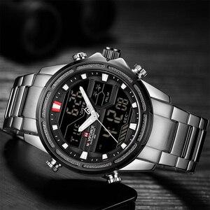 Image 3 - NAVIFORCE luksusowe mężczyźni analogowy zegarek kwarcowy Sport moda wojskowy odkryty wodoodporny Chrono EL podświetlenie cyfrowe zegarki na rękę 9138