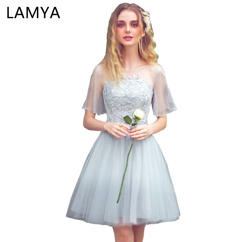 LAMYA Large Short Sleeve A Line Elegant Lace Prom Dresses 2019 Plus Size  Evening Party Dress Knee Length Special Occasion Gowns