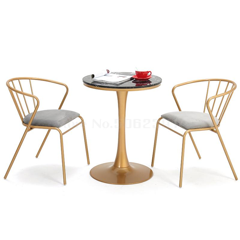 Scandinavian Ins Chair Creative Simple Dining Chair Combination Milk Tea Shop Leisure Small Round Table Iron Balcony Gold Table