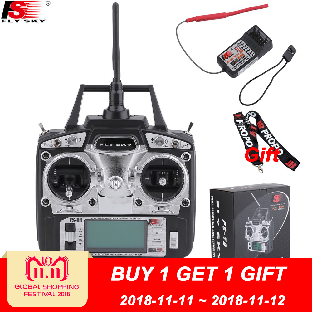 Flysky FS-T6 FS T6 6ch 2.4g w/ LCD Screen Transmitter + FS R6B Receiver RC Quadcopter Helicopter With LED Screen gartt flysky fs t6 fs t6 2 4g digital 6 channels transmitter