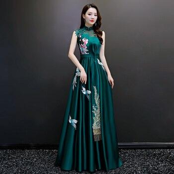 Dark Green Women Appliques Pleated Dress Cheongsam Add Rhinestone Faux Pearl Formal Party Dresses Big Ribbon Tassel Vestidos