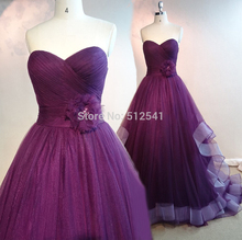 Dark Purple Actual Images Wedding Dresses A Line Pleat Ruffle Flower Sweep Train Bridal Gowns yk1A137