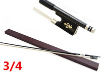 High quality violin bow size 3/4 violin Ebony wood Bow Top Horse hair violin accessories bow accessories para violin with Case