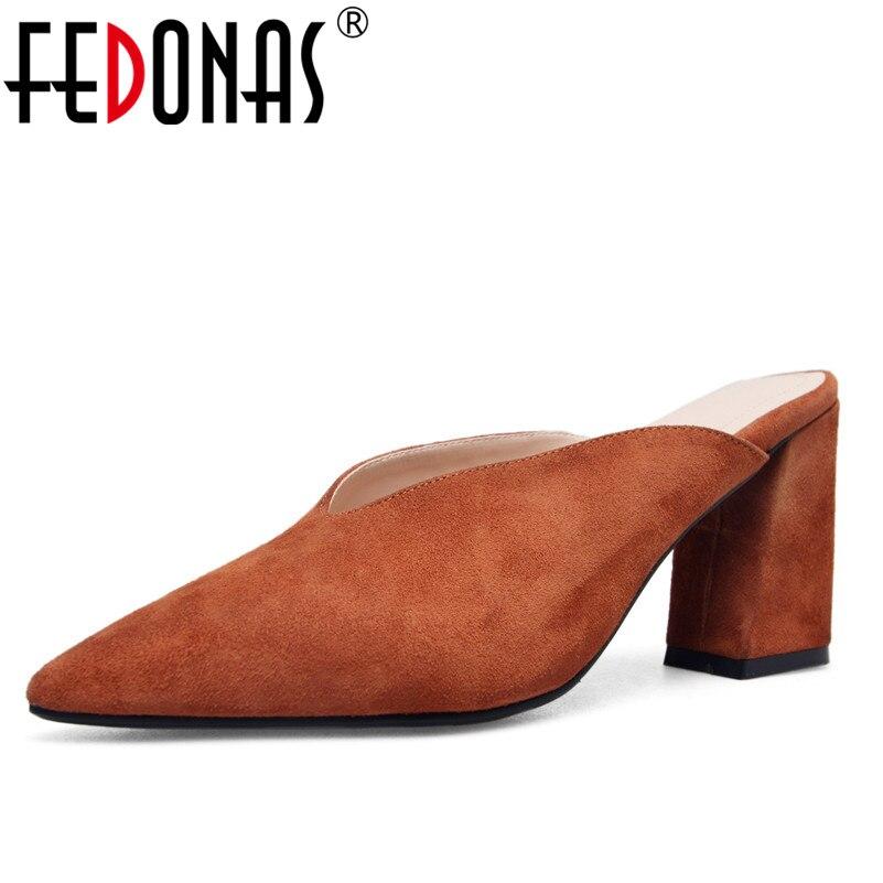 Ayakk.'ten Kadın Pompaları'de FEDONAS 1New Varış Kadın Arkası Açık Iskarpin Pompaları Süet Deri Yaz Yüksek Topuklu Ayakkabılar Kadın Sığ Moda Parti Balo Katır Ayakkabı'da  Grup 1