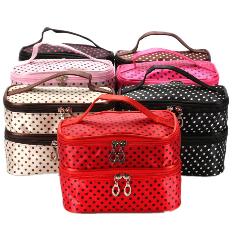 Portable Fashion Small Dots Cosmetic Storage Bag Multifunctional Women Makeup Double Layers Organizer with Mirror Handbag Case