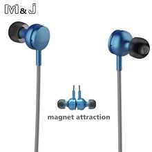 M & j nueva inalámbrica bluetooth 4.1 auriculares estéreo de auriculares de metal imán deporte de estudio de música auriculares para iphone 7 plus