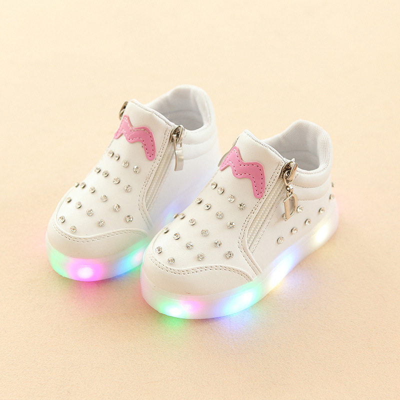 Kids Baby Infant Girls Crystal Bowknot LED Luminous Shoes Sneakers Butterfly knot cute casual wear Little white shoe SH19050