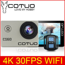 "COTUO CS60 4K 30fps WiFi 16MP Action camera Ultra HD 170D 1080P 720P 120fps go 30m waterproof pro 2.0"" LCD sports cam anti-shake(China)"