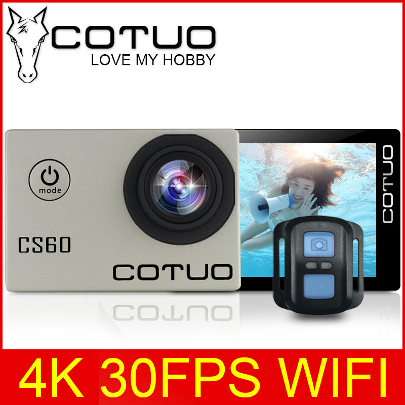 "COTUO CS60 4K 30fps WiFi 16MP Action camera Ultra HD 170D 1080P 720P 120fps go 30m waterproof pro 2.0"" LCD sports cam anti-shake"