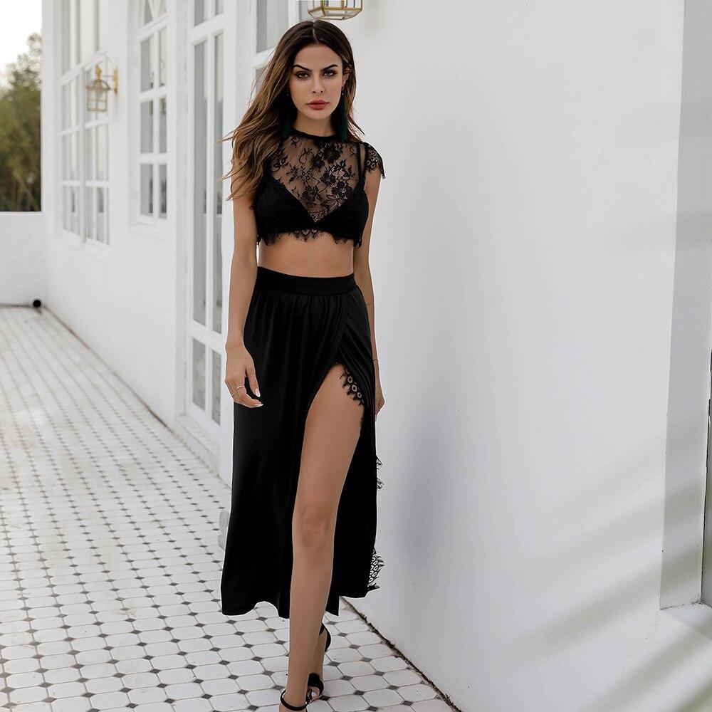 Mulheres Sexy Três Peças Define Topos de Culturas Sutiã de Renda com Saia Alta Dividir Transparente Ver Através Blusa de Cintura Alta jupe Ternos