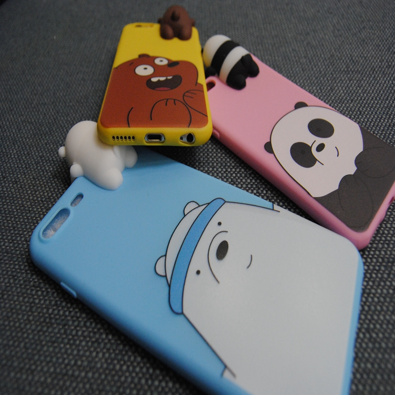 for Samsung Galaxy A5 A7 Cover 3D Cute Cartoon We Bare Bears brothers funny toys soft phone case for Samsung Galaxy A7 A3 case in Fitted Cases from Cellphones Telecommunications