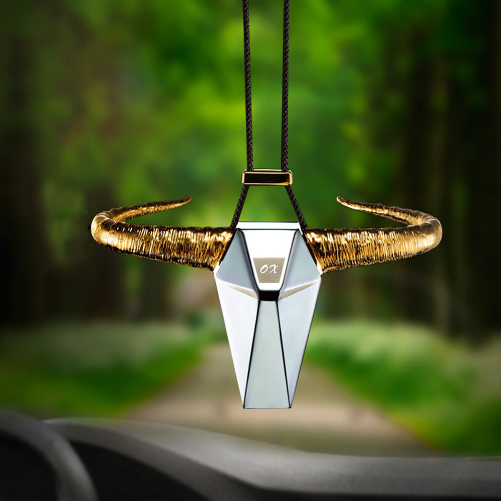 Car Pendant Zinc Alloy OX Horn Rearview Mirror Decoration Auto Bull Hanging Ornament Automobiles Interior Decor Accessories Gift car pendant lucky cat car rearview mirror decoration ceramics alloy hanging ornament automobile dashboard accessories gift 60cm