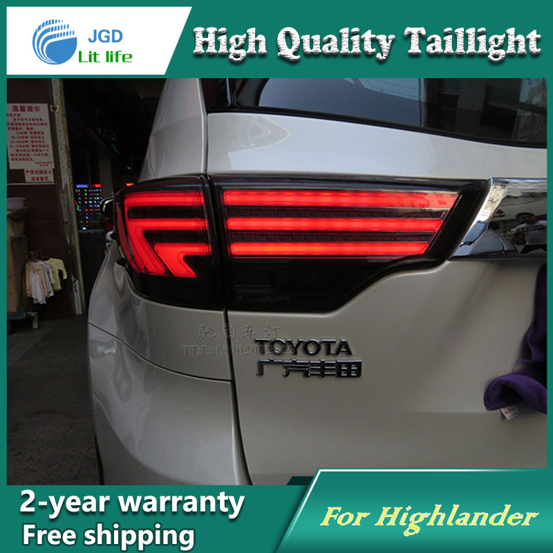 Car Styling Tail Lamp for Toyota Highlander 2015 Tail Lights LED Tail Light Rear Lamp LED DRL+Brake+Park+Signal Stop Lamp high quality car styling 35w led car tail light for toyota highlander 2015 tail lamp drl signal brake reverse lamp