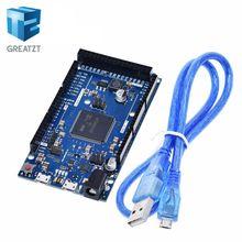 Placa Compatible oficial DUE R3 SAM3X8E 32 bit ARM Cortex M3 / Mega2560 R3 Duemilanove 2013 para Arduino Due Board con Cable