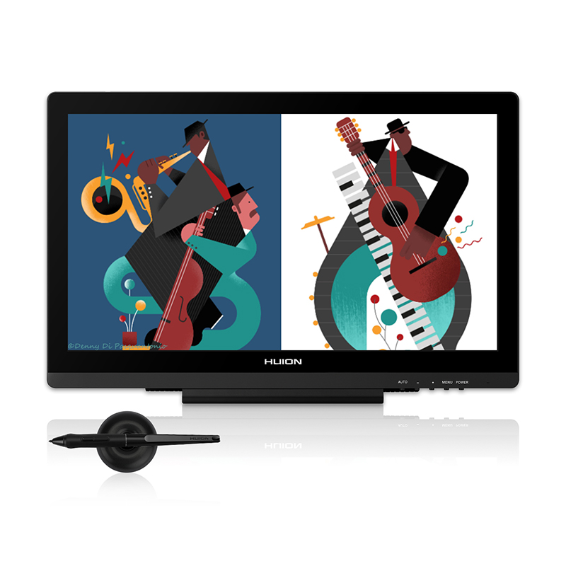 HUION Kamvas GT-191 V2 19.53 Affichage Stylo Tablette Moniteur Batterie-livraison Numérique Graphique Dessin Moniteur 8192 Niveaux avec cadeaux
