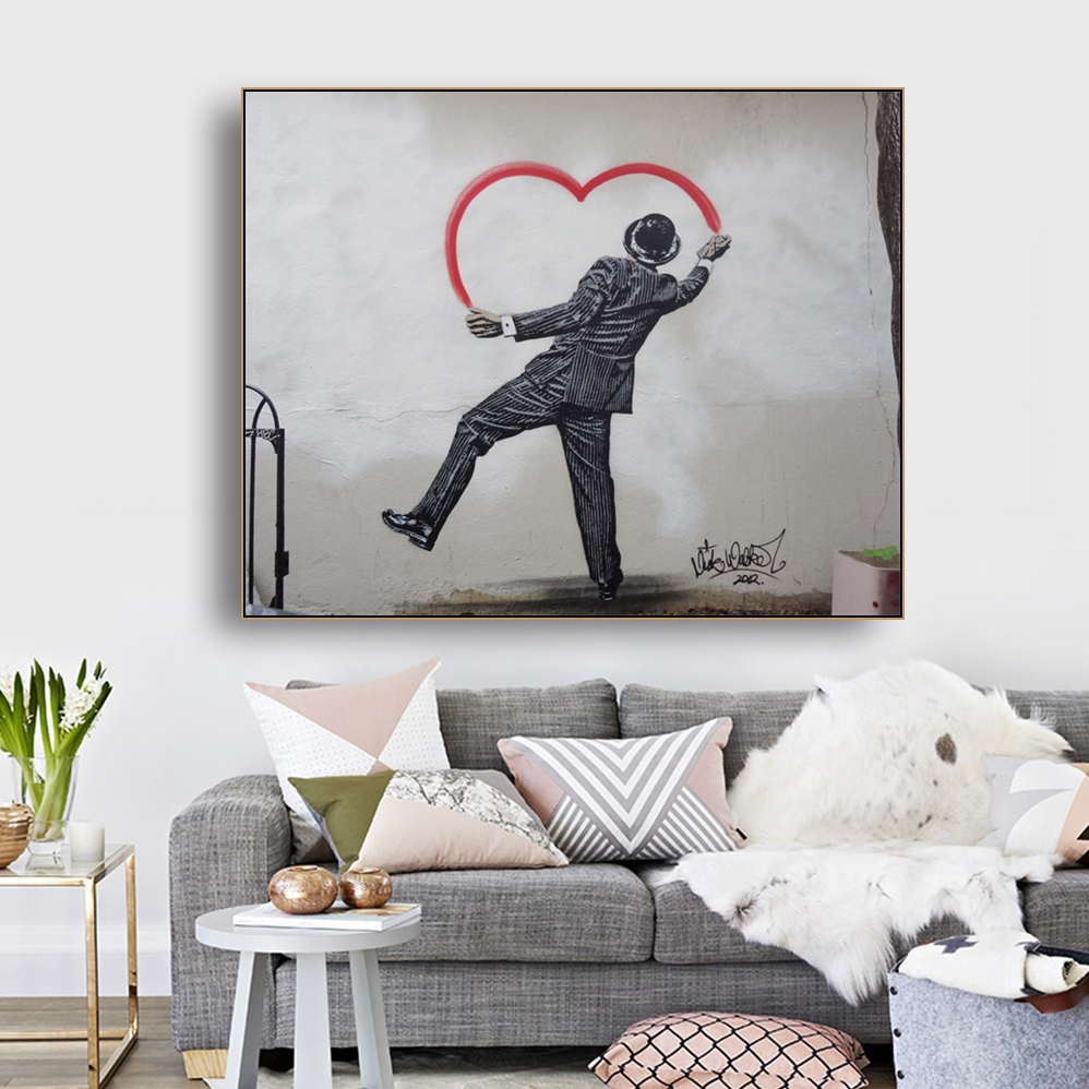 Painting Heart by Banksy Wall Art Decor Canvas Calligraphy Poster Print Decorative Picture Living Room Home