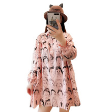 Autumn Women Casual Loose Fitting Dresses Pink Character Pattern One Piece  Woman Cotton Linen Dress Girls Overisized Shirtdress 453f5e3fe0cc