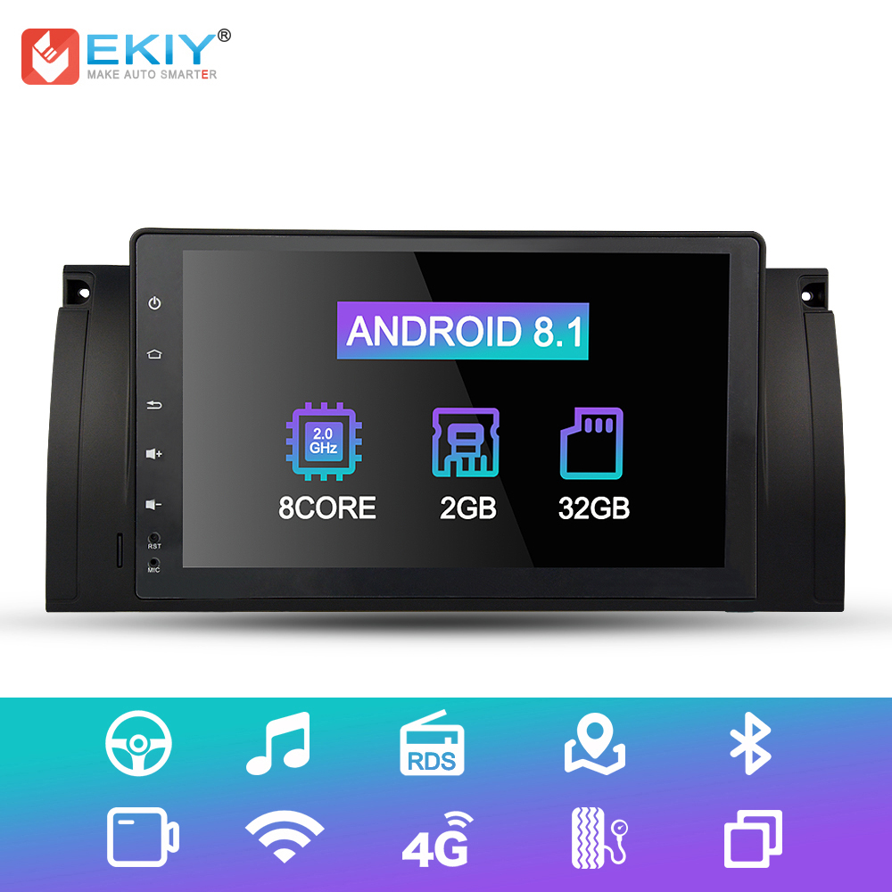 EKIY 9'' IPS 8 Cores Android 8.1 1 Din Car Radio Multimedia Player For BMW X5 M5 E53 E39 5 Series GPS Navigation DVD Wifi BT OBD