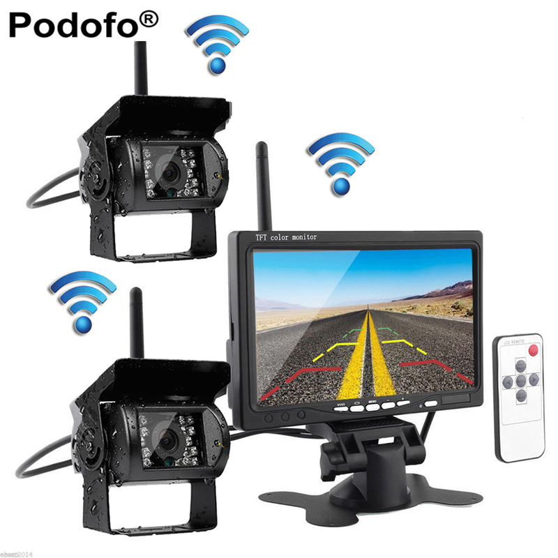 Built-in Wireless Dual IR Night Vision Rear View Back up Cameras System + 7 HD Monitor for RV Truck Trailer Bus