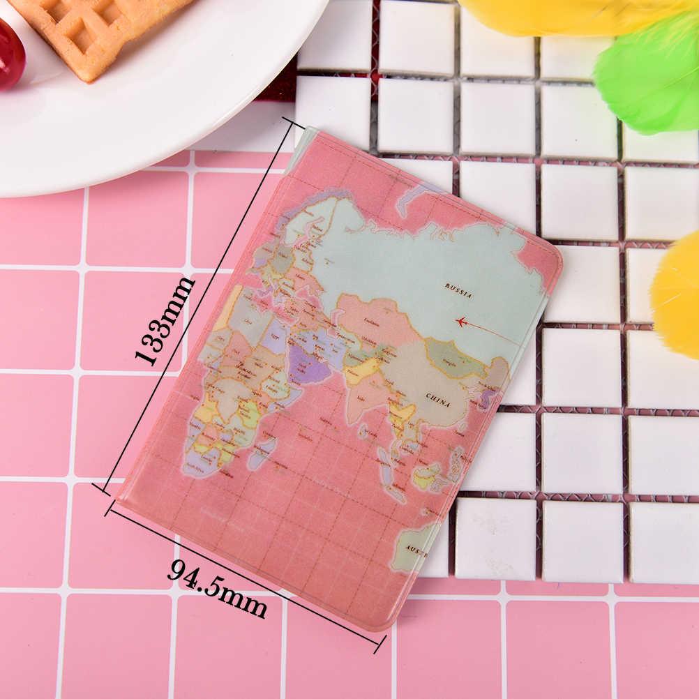 2017 Nova moda Feminina Passaporte Titular Protetora Pochette Passeport Mapa Do Mundo Passaporte Capa de Passaporte Carteira