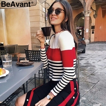 BeAvant Streetwear striped sweater autumn pullover 2018 O neck ruffles elegant women sweaters Winter casual slim pullover female