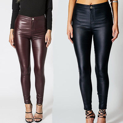 New Fashion Women Jeans Leggings Pants High Waist PU Leather Look Jeggings Trousers Pencil Pants