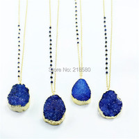 N15013103 Bohemian Jewelry Crystal Druzy Royal Blue Beads Rosary Chain Necklace